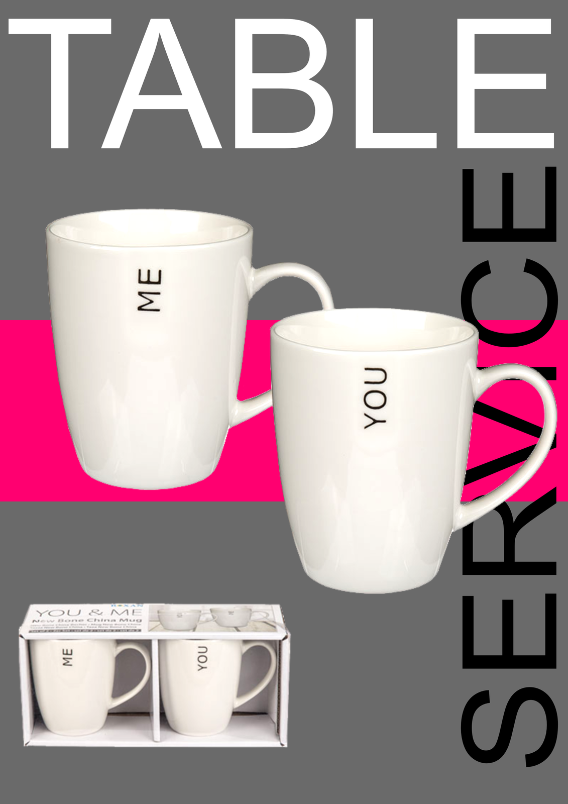 You and Me 2 Piece Bone China Mug Set 10 x 8 cm In a Presentation Gift Box