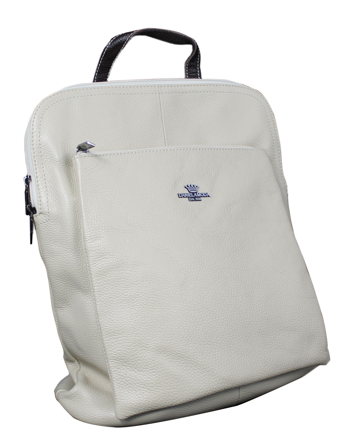 Florence Soft Leather Rucksack in Off White with Brown Trim