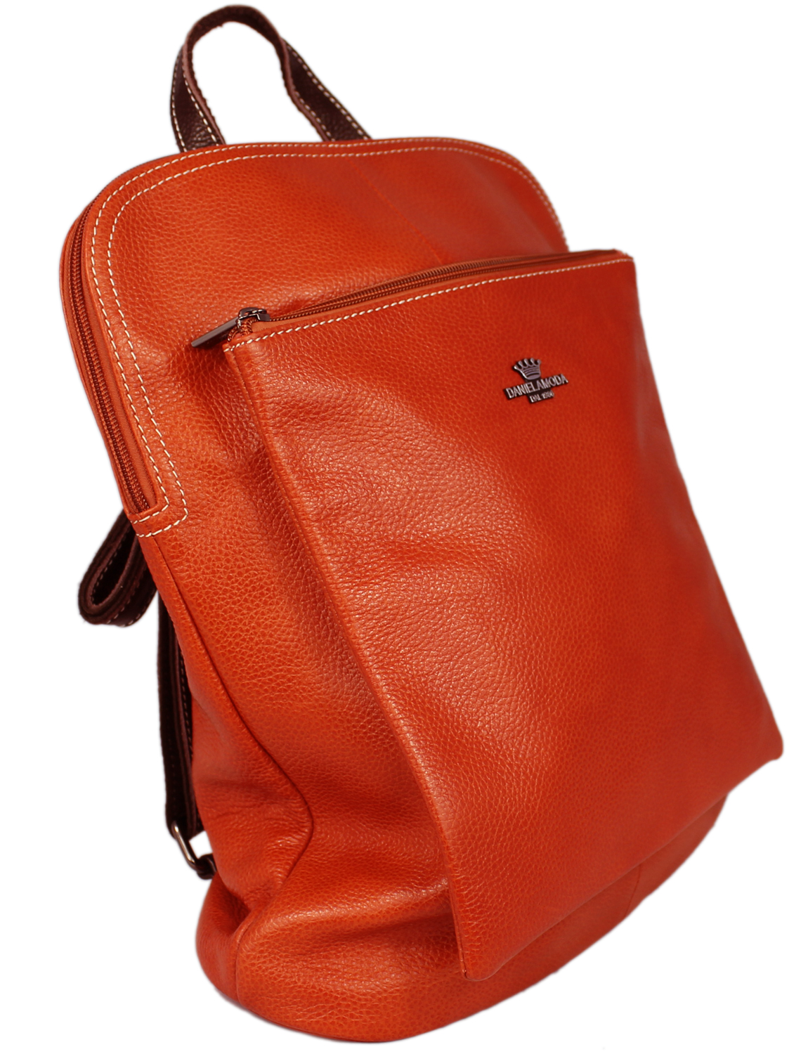 Florence Soft Leather Rucksack in Brick Red with Brown Trim