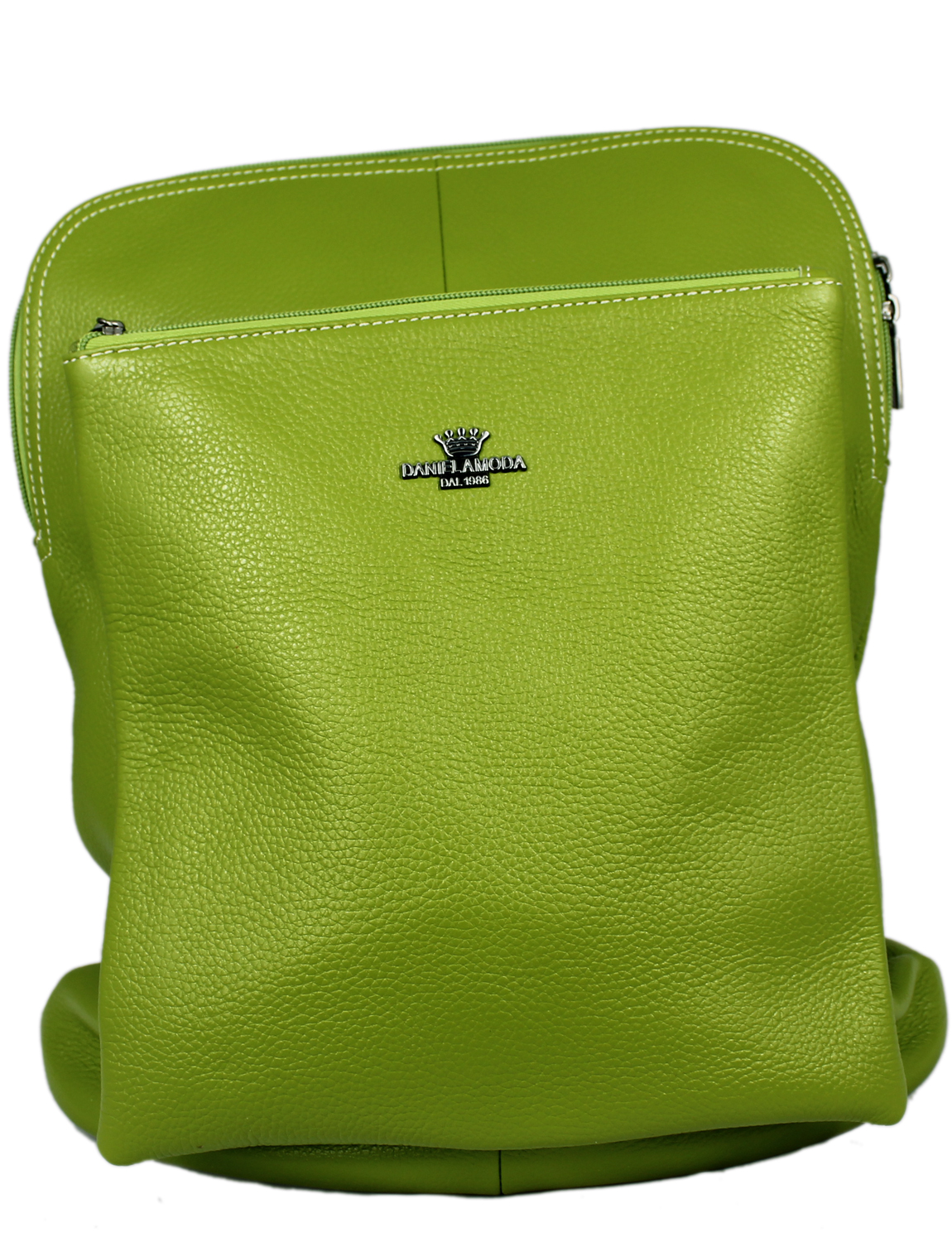 Florence Soft Leather Rucksack in Green with Black Trim