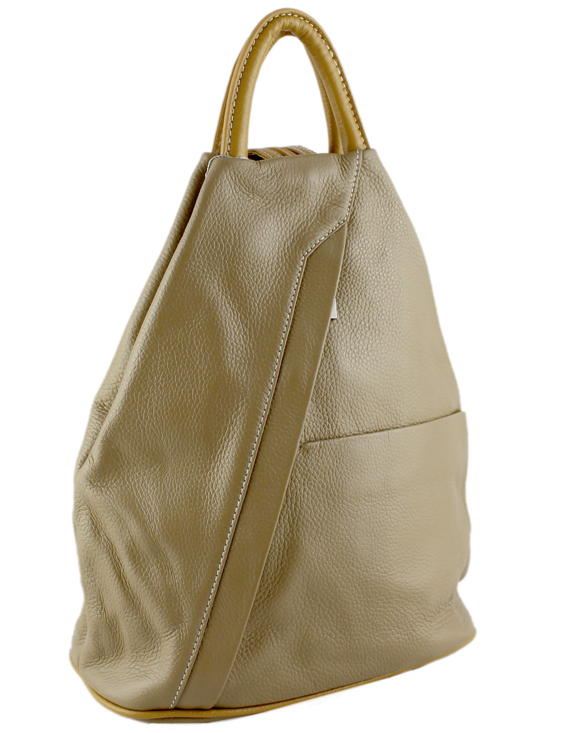 Tuscany Soft Leather Backpack in Beige with Caramel Trim