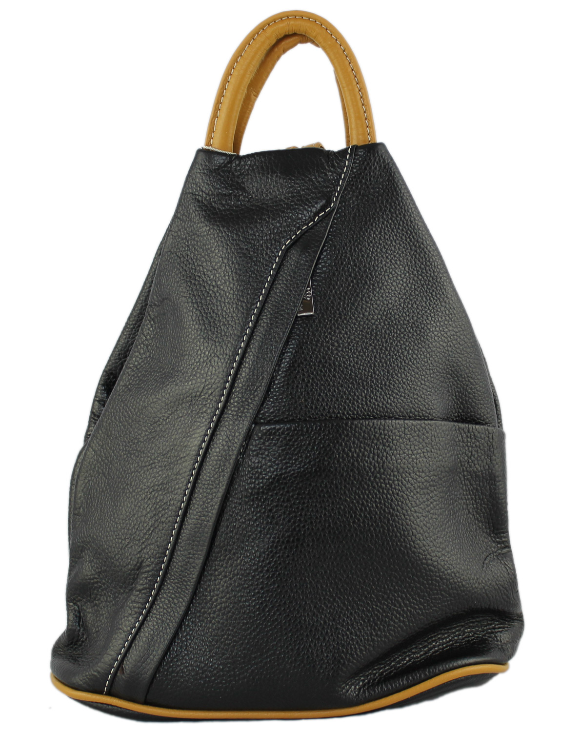 Tuscany Soft Leather Backpack in Black with Caramel Trim