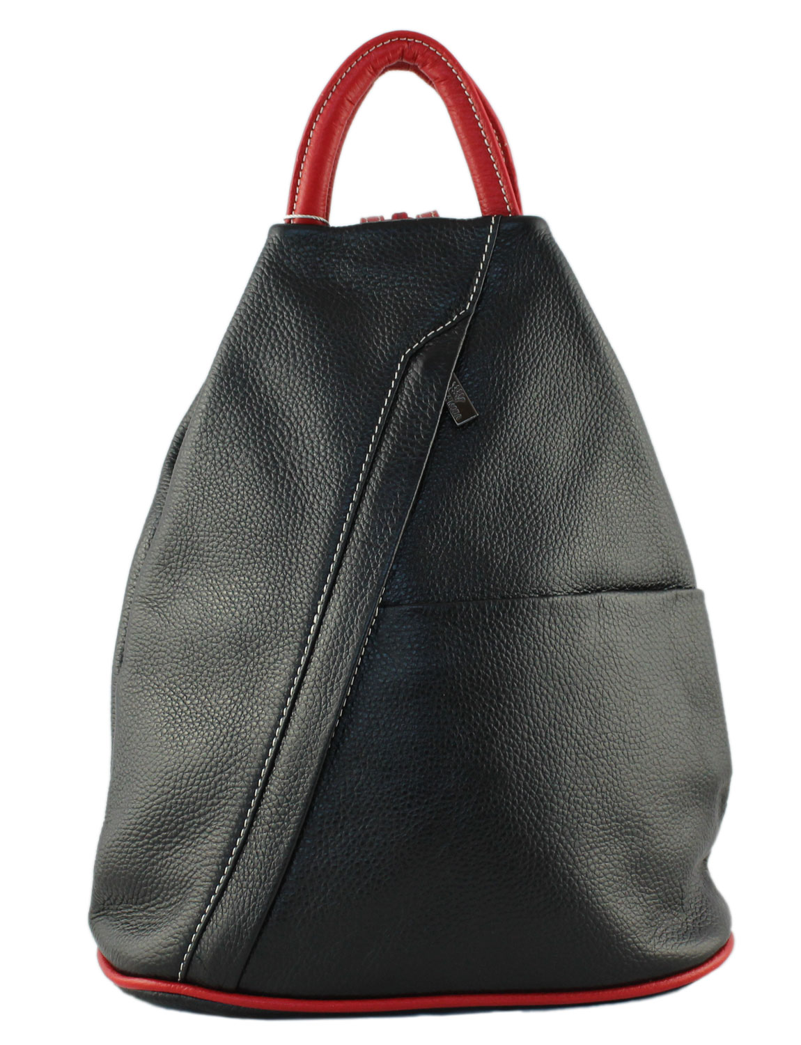 Tuscany Soft Leather Backpack in Black with Red Trim