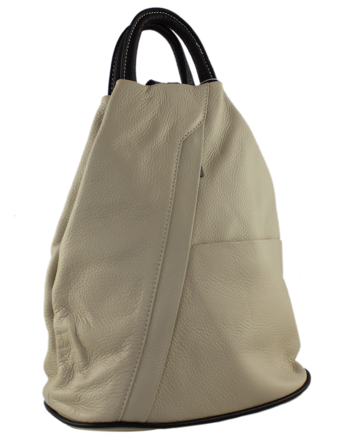 Tuscany Soft Leather Backpack in Off White and Brown
