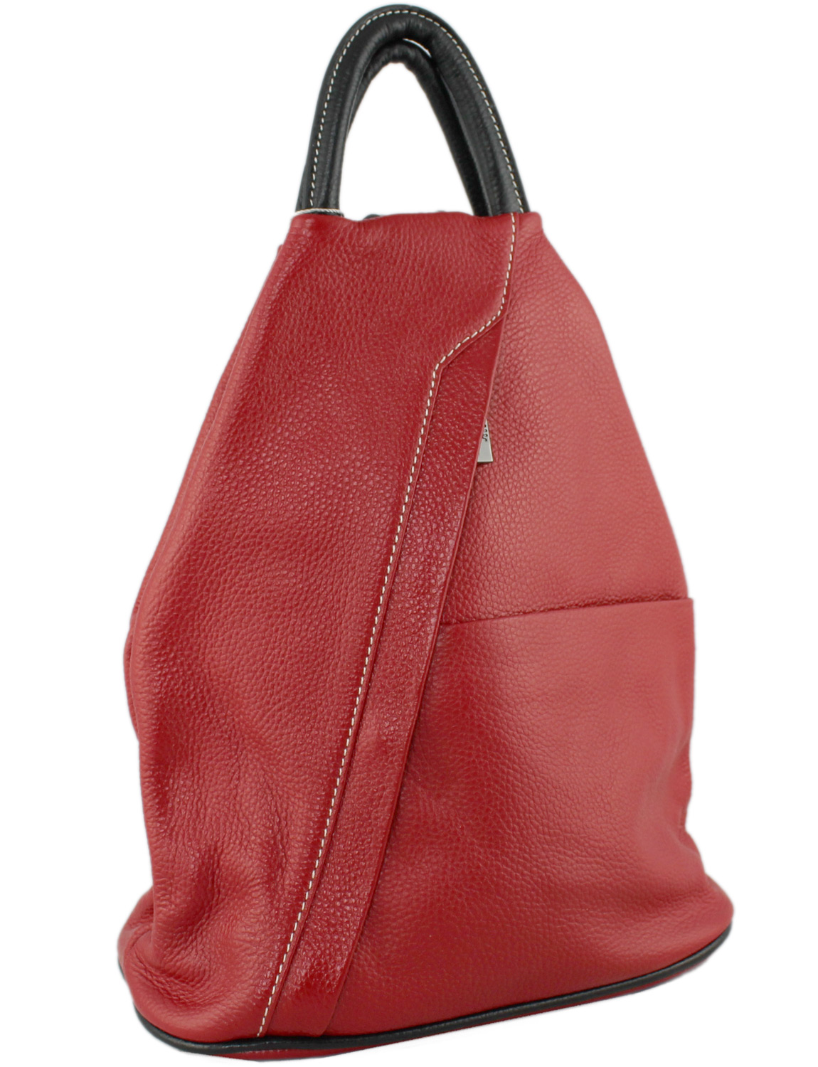 Tuscany Soft Leather Backpack in Red with Black Trim