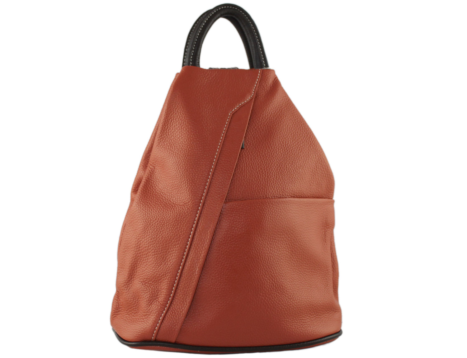 Tuscany Soft Leather Backpack in Brick Red With Brown Trim